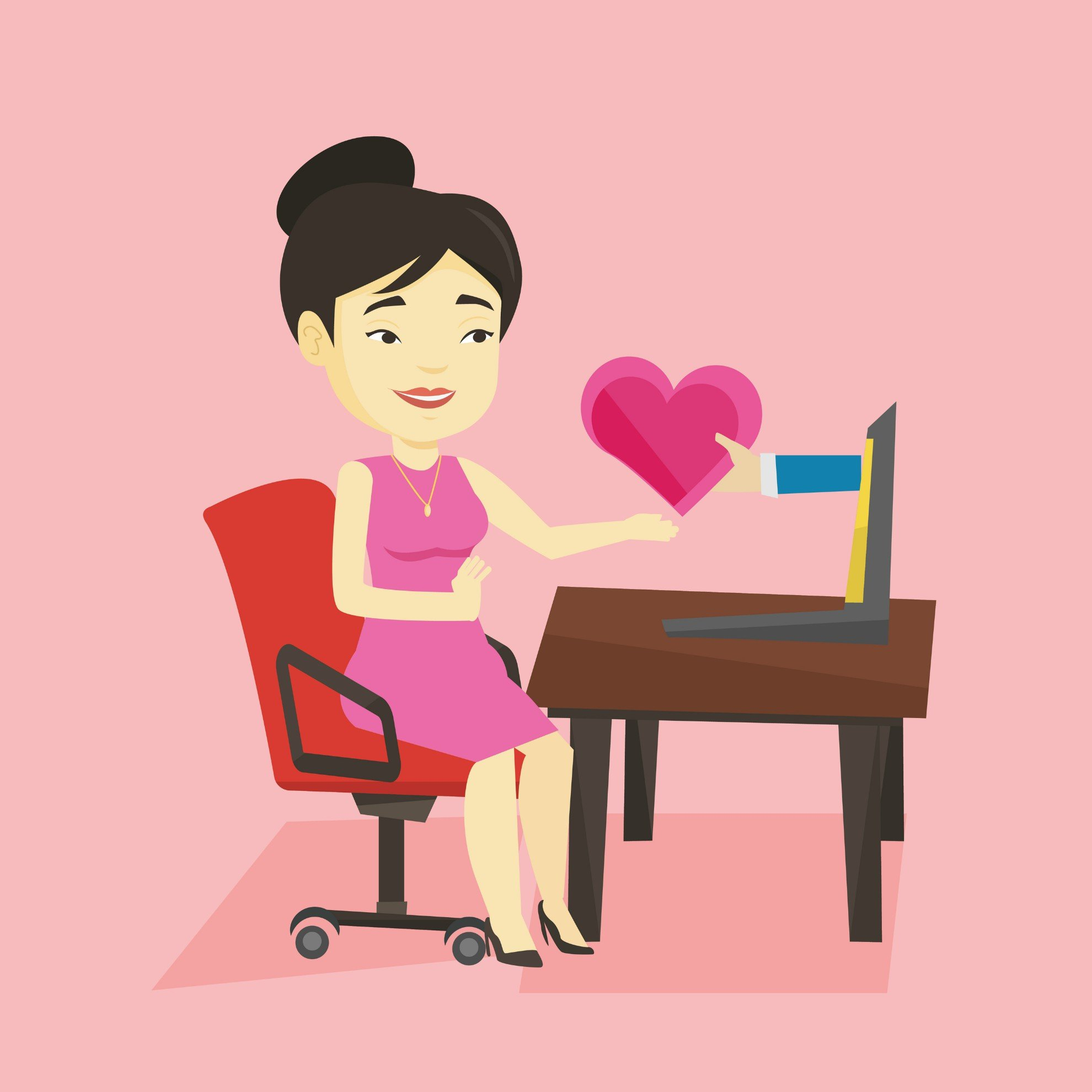Asian woman at desk with laptop heart