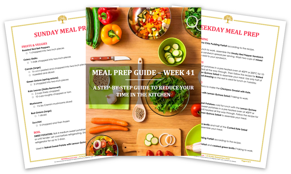 An image of a WFPB Success Club meal prep guide.