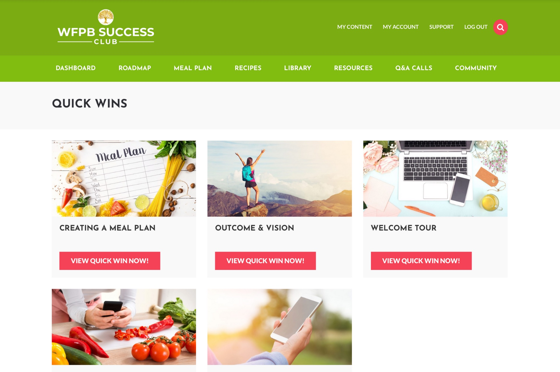 An image of the quick wins area of the WFPB Success Club.
