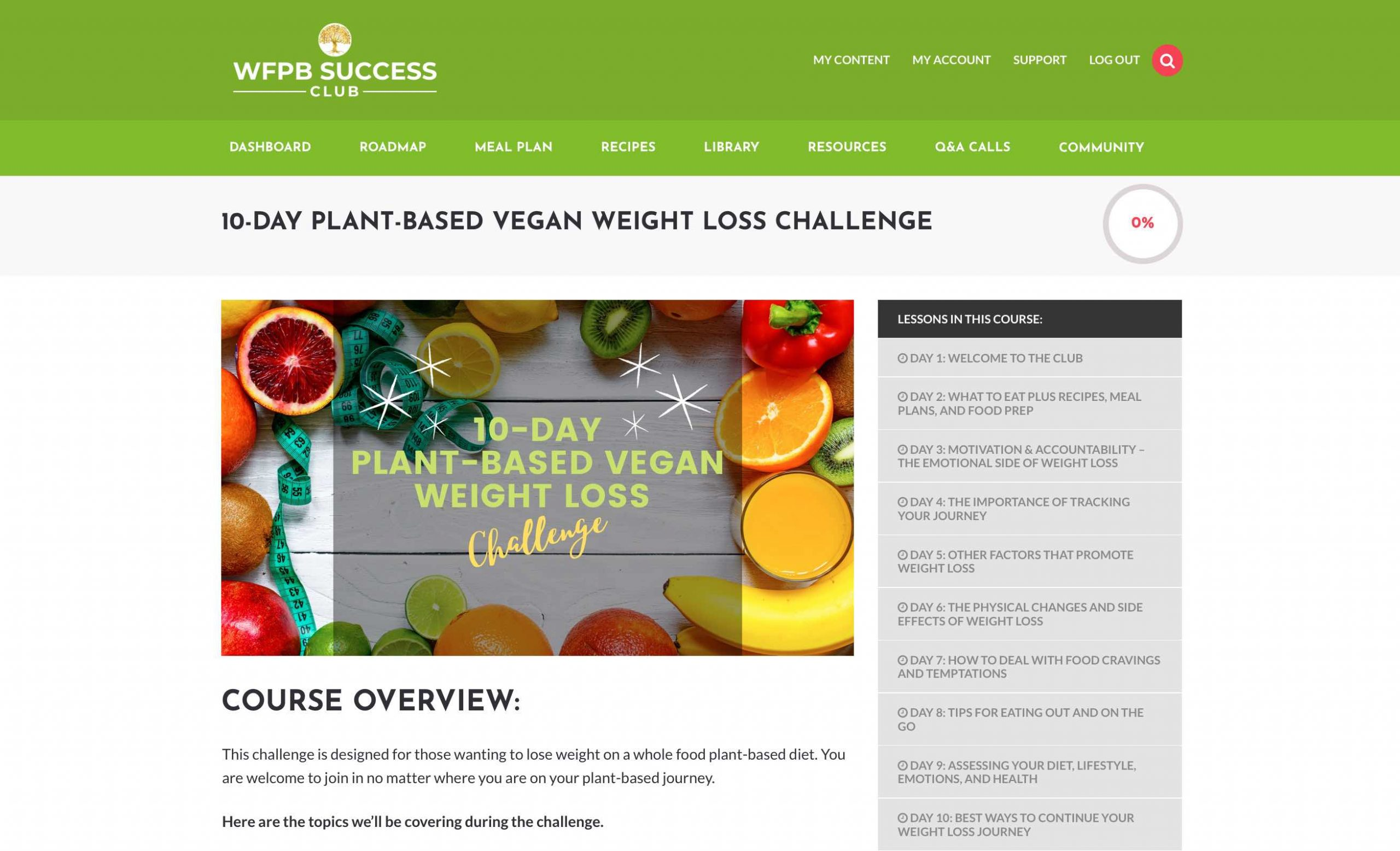 An image of weight loss challenge page